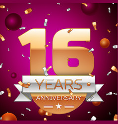 Sixteen years anniversary celebration design vector