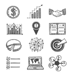 Sketch strategy and management icons vector