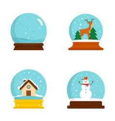 Snow globe ball christmas icons set flat style vector
