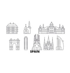 spain barcelona line travel skyline set spain vector image