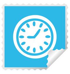 square peeling sticker cartoon wall clock vector image
