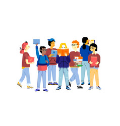 student characters young happy boys and girls vector image