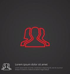 team outline symbol red on dark background logo vector image