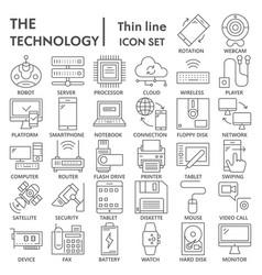 technology thin line icon set device symbols vector image