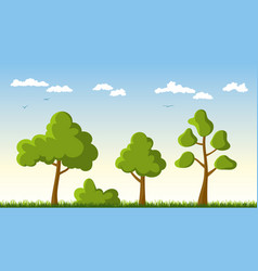 Three trees in a meadow vector