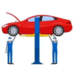 Two mechanic standing under underbody and vector image