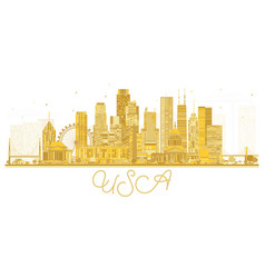 Usa city skyline silhouette with golden vector