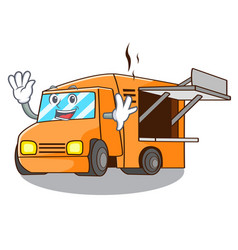 Waving food truck with isolated on mascot vector