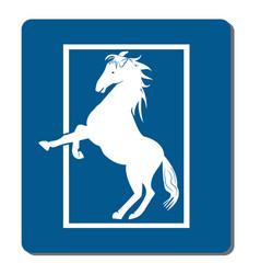 white horse silhouette logo vector image