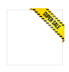 Yellow caution tape with words super sale vector