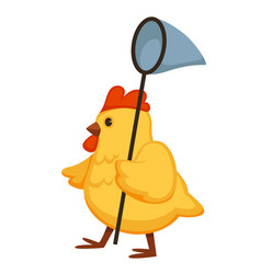 Yellow fluffy chicken walks with nettle on long vector