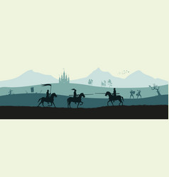 black silhouette of knights vector image