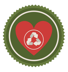 emblem red heart with ecolgy symbol vector image vector image