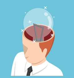 isometric businessman with light bulb in his head vector image