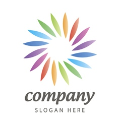 logo of colored petals in a circle vector image