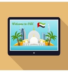 United Arab Emirates Travelling Banner on Tablet vector image