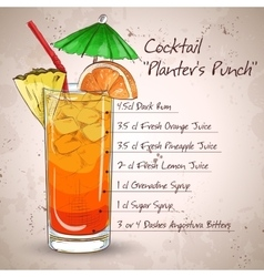 Planter punch cocktail vector