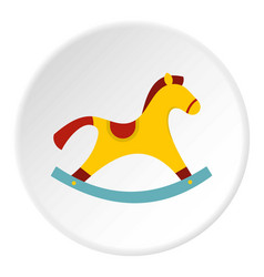 Yellow wooden rocking horse icon circle vector