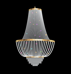 A chandelier with crystal pendants on the black vector