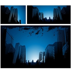 Blue city downtown background vector