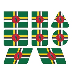 buttons with flag of Dominica vector image
