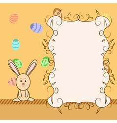 cartoon greeting card with easter congratulation vector image vector image