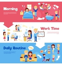 Daily people horizontal banners set vector