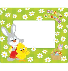 Easter border with Bunny and Chick vector image