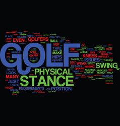 Golf stance and its physical requirements text vector