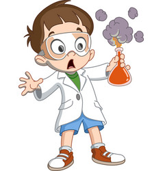 kid makes science experiment vector image