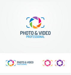 photo and video logo set with aperture vector image