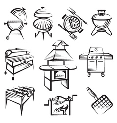 set of barbecue design vector image