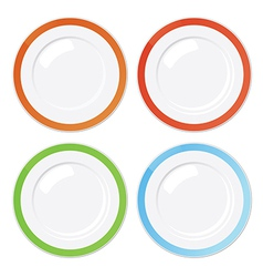 Set of four clean plates with coloured borders vector image vector image