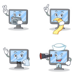 set of monitor character with photographer menu vector image vector image