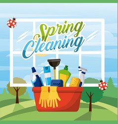 spring cleaning bucket equipment with window and vector image