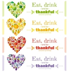 Thanksgiving food banner set with heart icons vector image