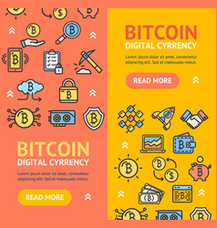 bitcoin digital currency banner vecrtical set vector image vector image