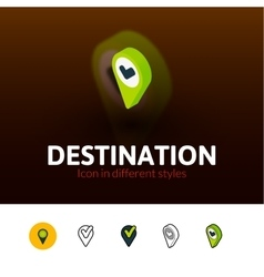 Destination icon in different style vector image