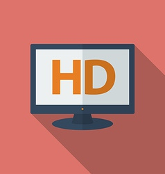 Icon of hd tv flat style vector