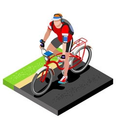 Road Cycling Cyclist Working Out Isometric 3D vector image