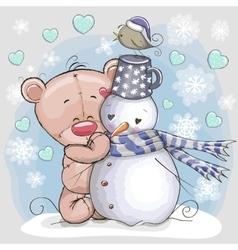 Teddy Bear and Snowman vector image vector image