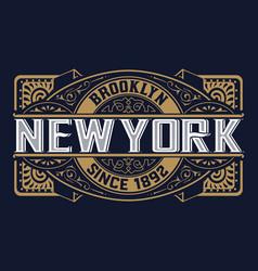 vintage label typography poster frame retro design vector image vector image