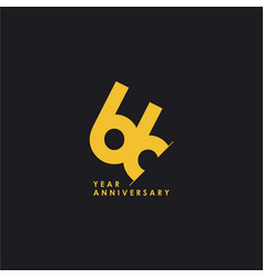 66 years anniversary template design vector