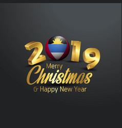 Antigua and barbuda flag 2019 merry christmas vector