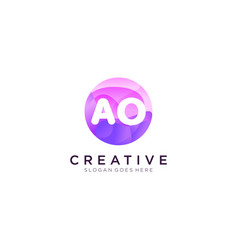 Ao initial logo with colorful circle template vector