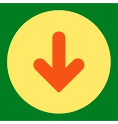 Arrow Down flat orange and yellow colors round vector