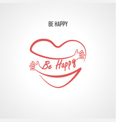 Be happy typographical design elements and red vector