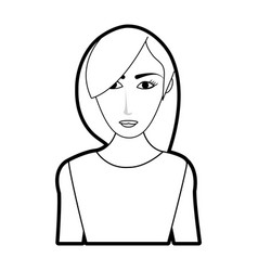 black silhouette cartoon half body woman with long vector image