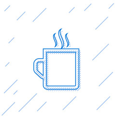 Blue line coffee cup flat icon isolated on white vector