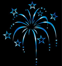 blue stylized fireworks vector image